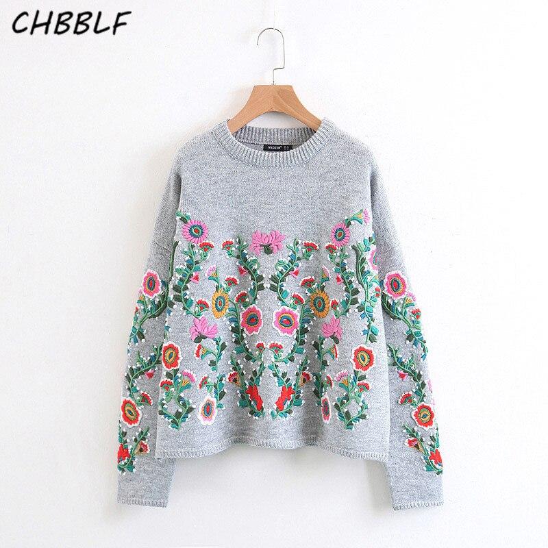 Gris Chandail Tricoté Mode N8823 Broderie Femmes Nouveau Tops Printemps Longues Floral Dames Pulls Manches À Europe vAqnUF