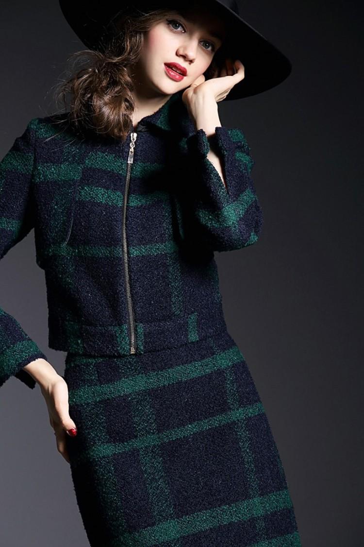 Runway Style High Grade Grid Pattern Woolen Green Skirt Suits Autumn Winter 2015 (19)