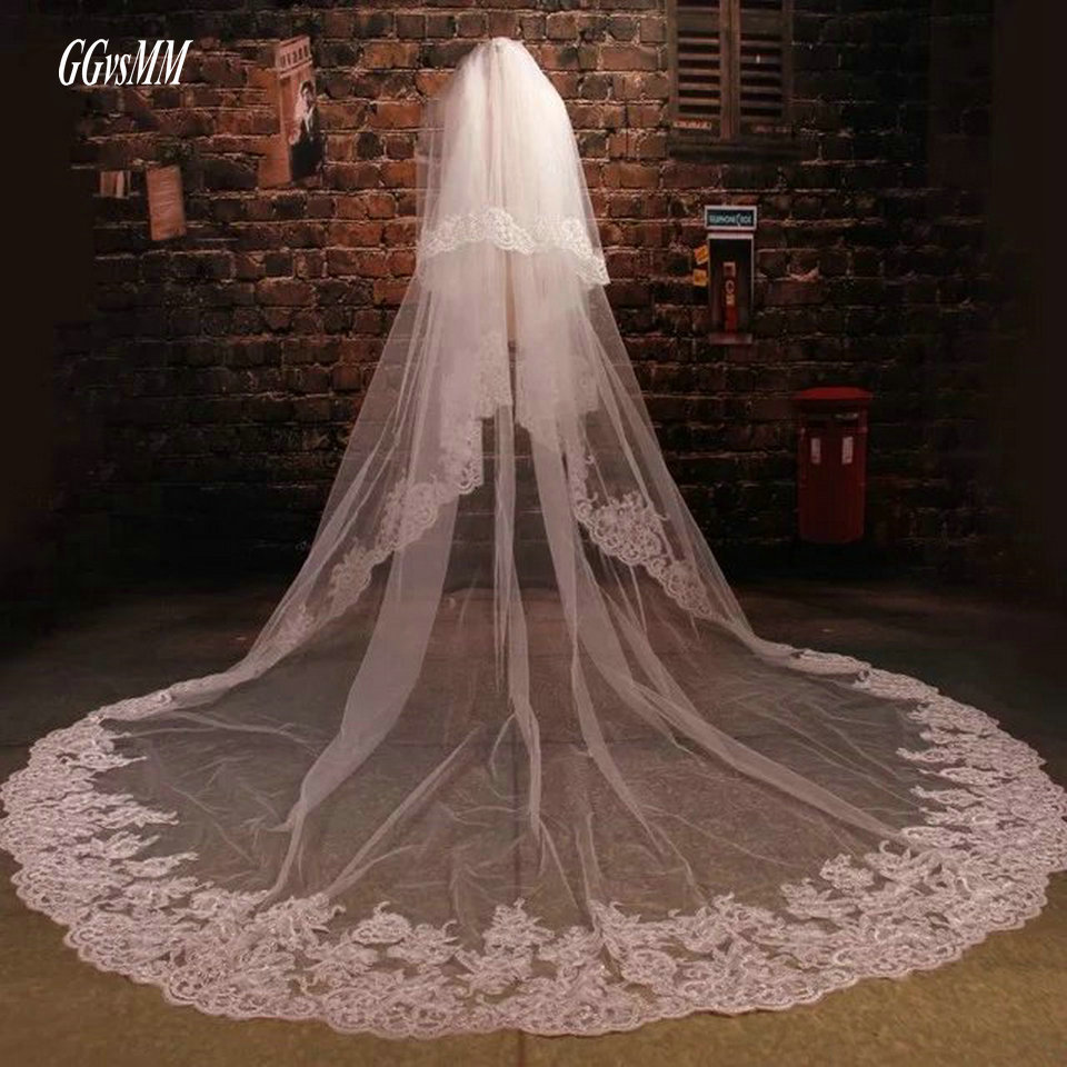 Cathedral Ivory Wedding Veil 3 Meter Bridal Veiling Tulle Lace Appliques Comb Bride Veils White 2020 Yashmac 5 Yard Accessories