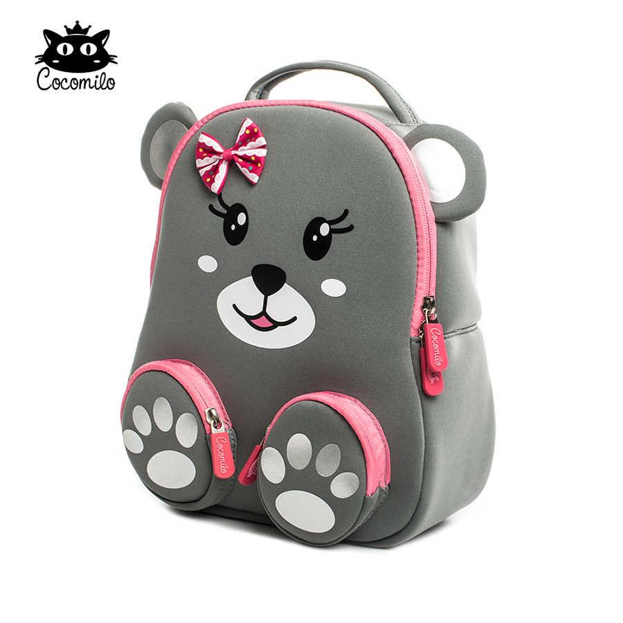 2018 Cocomilo детский сад детские рюкзаки с животными водонепроницаемые школьные сумки портфель для мальчиков и девочек детские школьные сумки с рисунком кота медведя