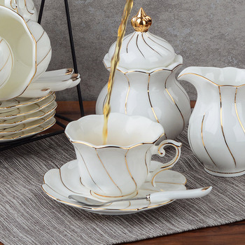 A brief English afternoon tea set, a continental coffee cup and a set of ceramic coffee sets