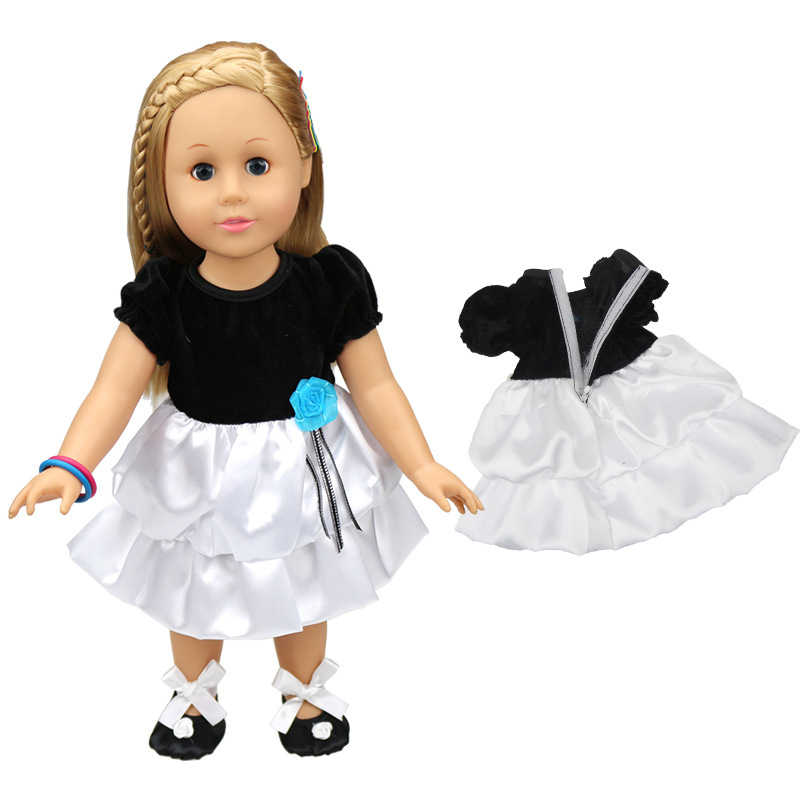 Baby doll clothes for 43-45cm toy new born doll and american doll White and Black dress evening dress princess dress