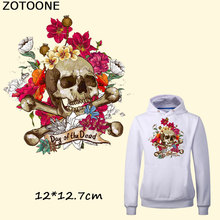 ZOTOONE Dad of The Dead Skull Patches For Clothes Washable DIY Accessory Decoration Iron On Transfer Parches Para La Ropa C