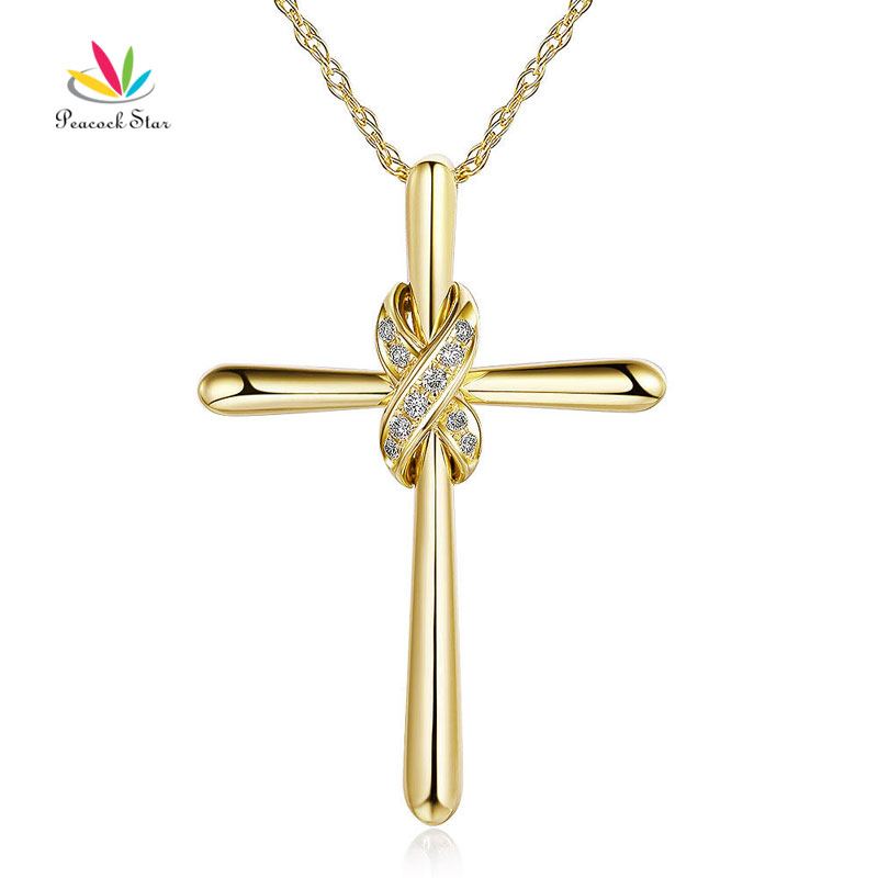 Tip Top Jewellery: Peacock Star 14K Yellow Gold Cross Pendant Necklace 0.57 Ct Diamonds-in Pendants From Jewelry