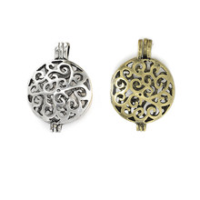 10Pcs Antique Silver Hollow Cage Locket Diffuser Pndants For DIY Lantern Pearl Essential Oil Jewelry(China)