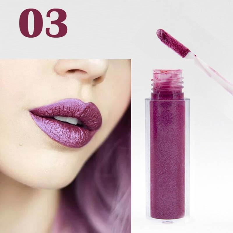 Women Fashion Glitter Lipstick Diamond Shine Lips Makeup Metallic Matte Lip Stick Lasting Waterproof Lipsticks 5