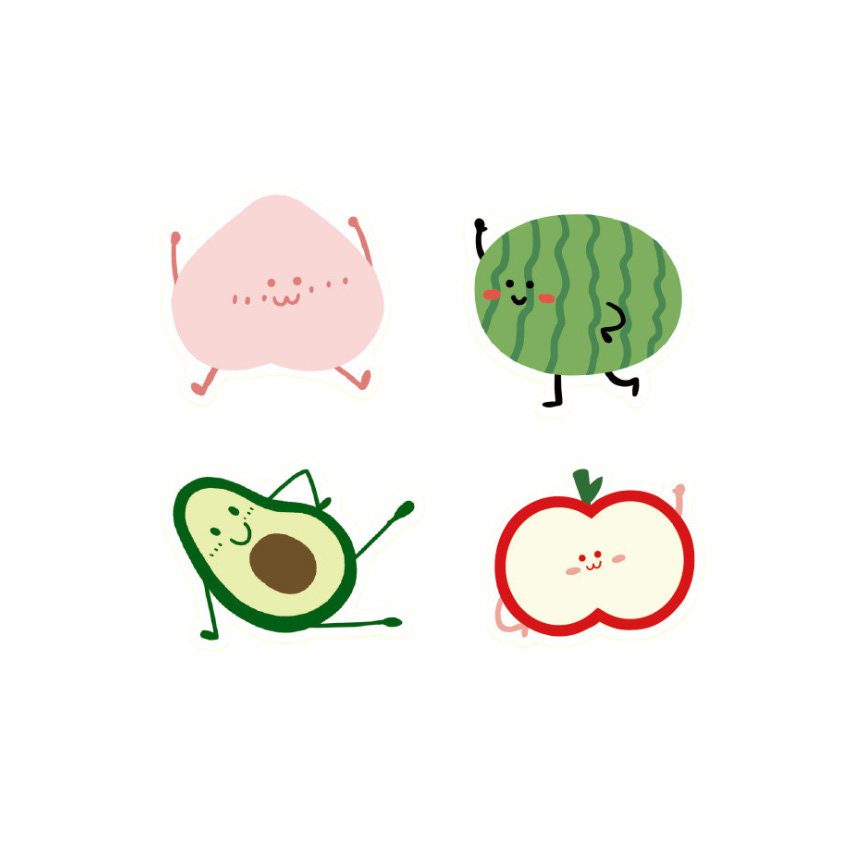 20packs lot Children 39 s Room Decoration Fruit And Fruit Series Sticker Dairy Six Styles For Gifts in Stationery Stickers from Office amp School Supplies