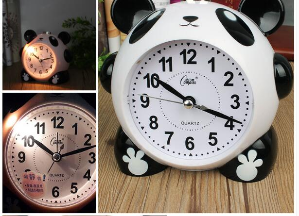 cartoon panda alarm clock night light electronic bell 16 polyphonic music super quiet snooze alarm clocks
