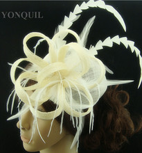 Free shipping high quality fascinators nice feather hair accessories sinamay hats event headwear FS119