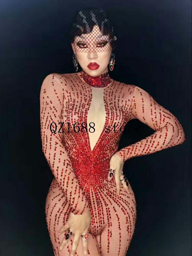 Feminino cantor djds convidado gogo sexy mostrar vermelho completo lantejoulas calças de manga longa estágio traje bodysuit manga longa