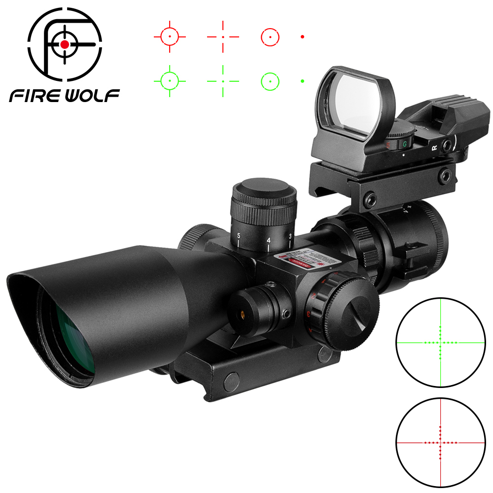 2.5-10x40 Tactical Rifle Scope R  Laser Hunting Illuminated Airsoft Riflescope Sight+Reflex Red Dot Sight Combination Suit