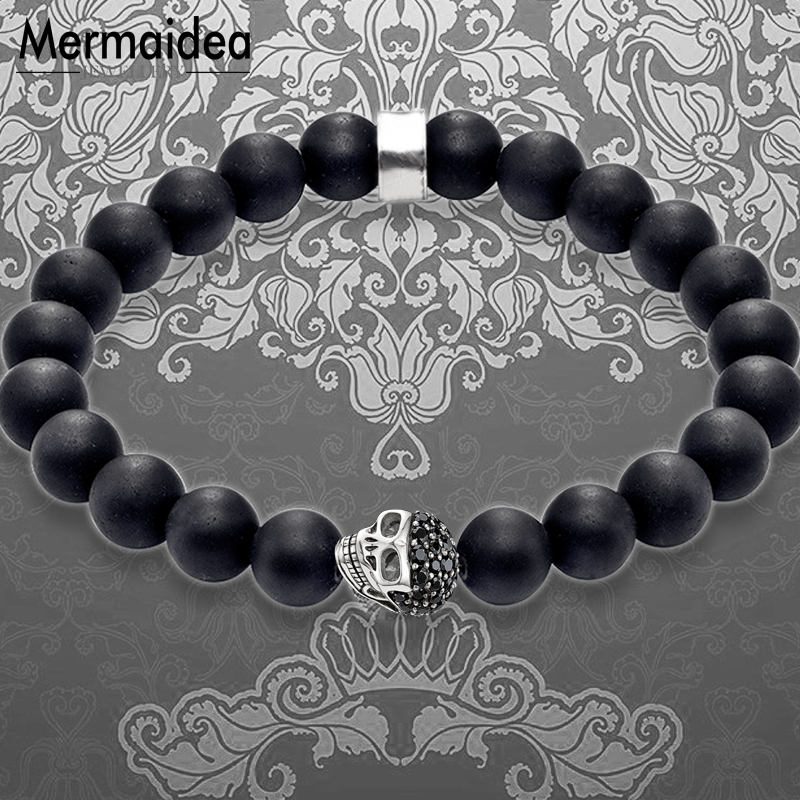 Bracelet Strand Skull Pave 10mm Obsidian Beads 2019 New Blackened Silver Fashion Jewelry Classic Gift for Men Boy Women Girls