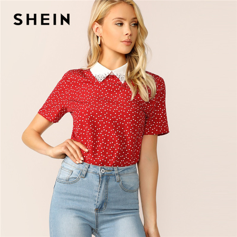 SHEIN Lady Red Preppy Heart Print Contrast Collar Pearl Beaded T Shirt Women Tops Summer Casual Short Sleeve Student Tshirt
