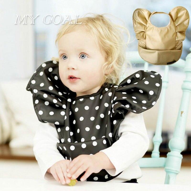Hot Sale Cute Mouse Bowknot Baby Children Feeding Bibs Brand Dot Saliva Pocket Infantil Bavoir Eating