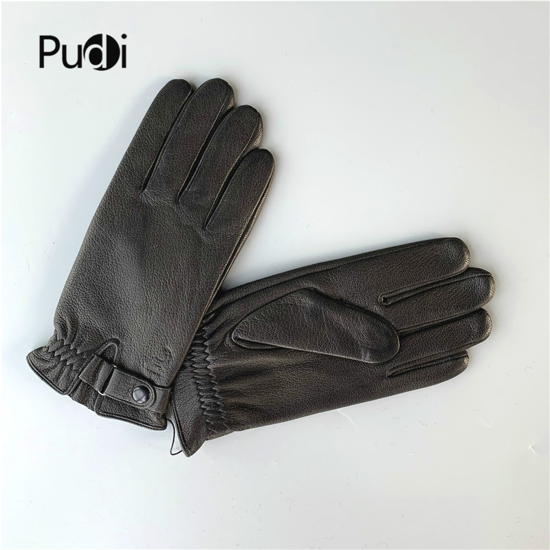 Pudi Man Winter Real Leather Glove Genuine Leather Gloves Boy Fashiong Free Size Gloves QC