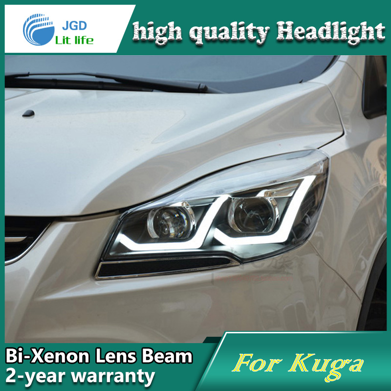 Car Styling Head Lamp case for Ford Kuga Headlights LED Headlight DRL Lens Double Beam Bi-Xenon HID car Accessories car styling led head lamp for ford kuga led headlights 2014 taiwan escape angel eye drl h7 hid bi xenon lens low beam