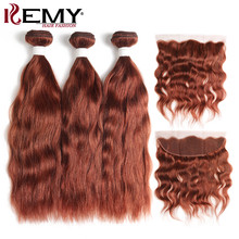 Brown Auburn Human Hair Bundles With Frontal 13*4 KEMY HAIR Pre-Colored Brazilian Non-Remy Human Hair Weaves Bundle 3 or 4 PCS(China)