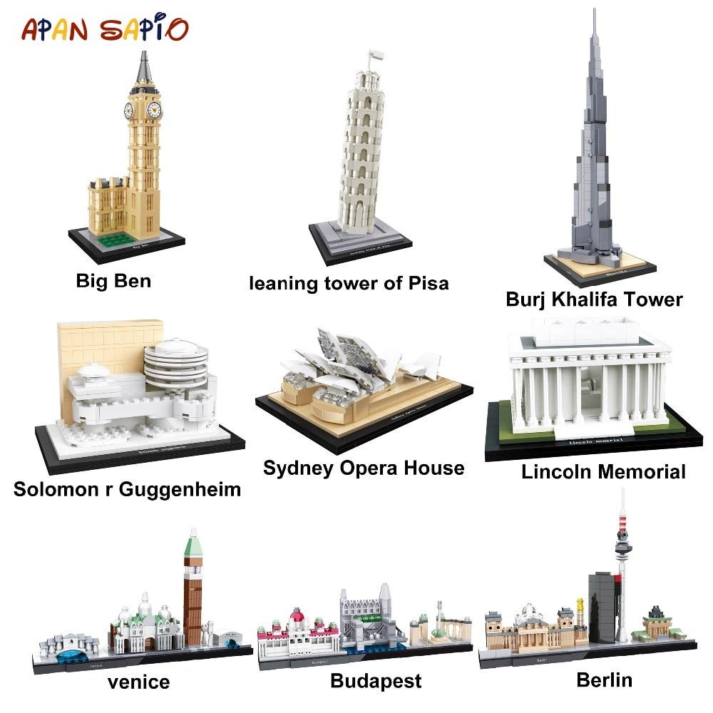 Famosos Blocos Arquitetura Modelo Mundo Bricks Modelo Clássico Da Cidade de New York Crianças Presentes Brinquedos Compatível com Duplos Legoe