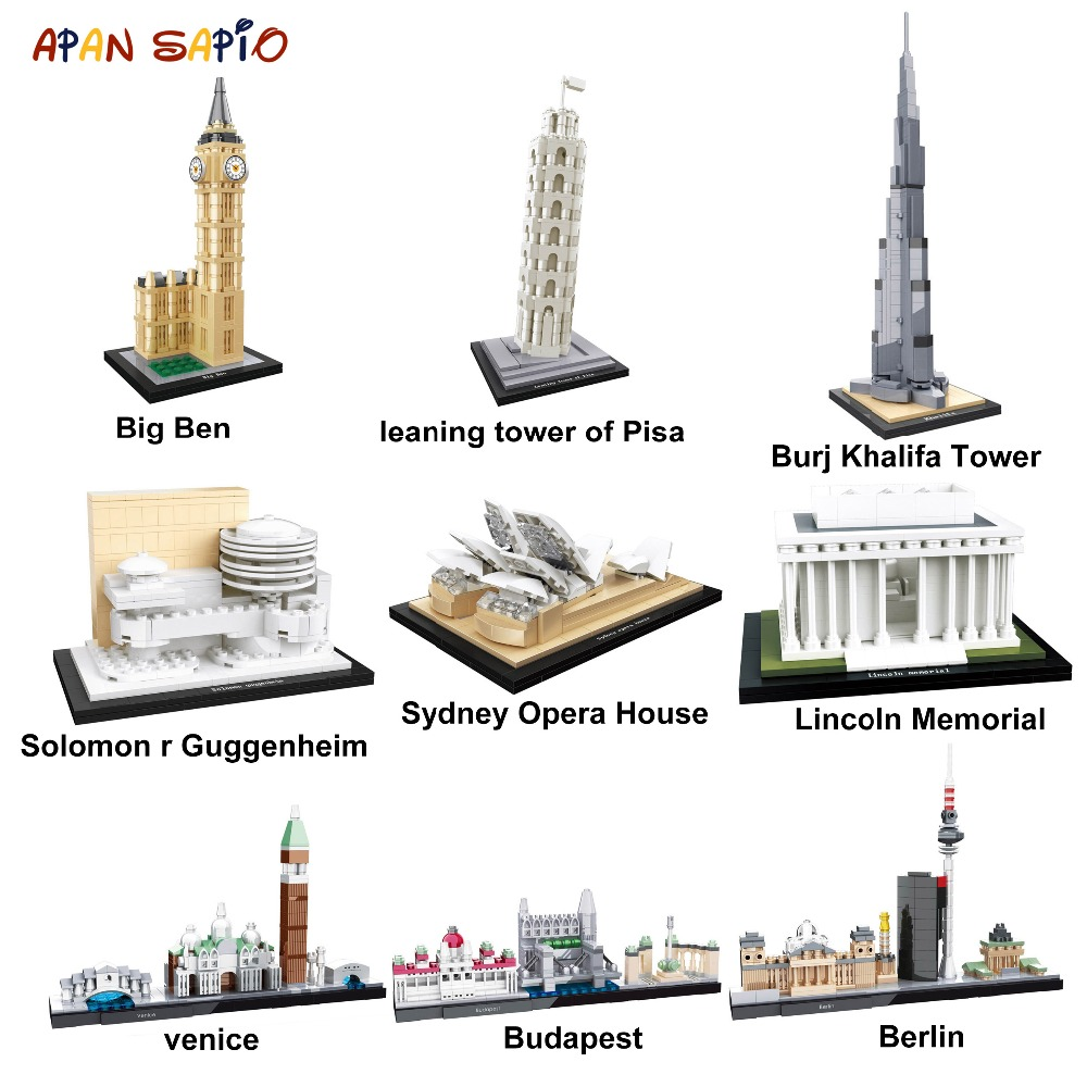 Famous Architecture Building Blocks Model World Classic City Bricks Model New York Kids Toys Gifts Compatible With Legoe Duplos