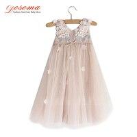 Sleeveless Petal Princess Summer Style Flower Ball Gowns Wedding Girl Dress Kids Floral TUTU Party Dress