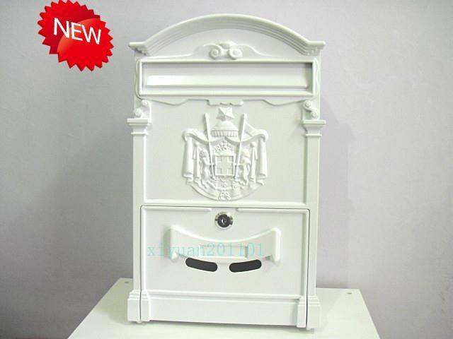 Matte white European mailbox mail box Rustic Iron-Mail box Fashion Vintage Bucket tin Newspaper box Post Letter Box aluminium