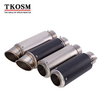 TKOSM Motorcycle Exhaust Laser Pipe Muffler Inlet 51mm 61mm Exhaust Mufflers Carbon Fiber Exhaust Pipe With