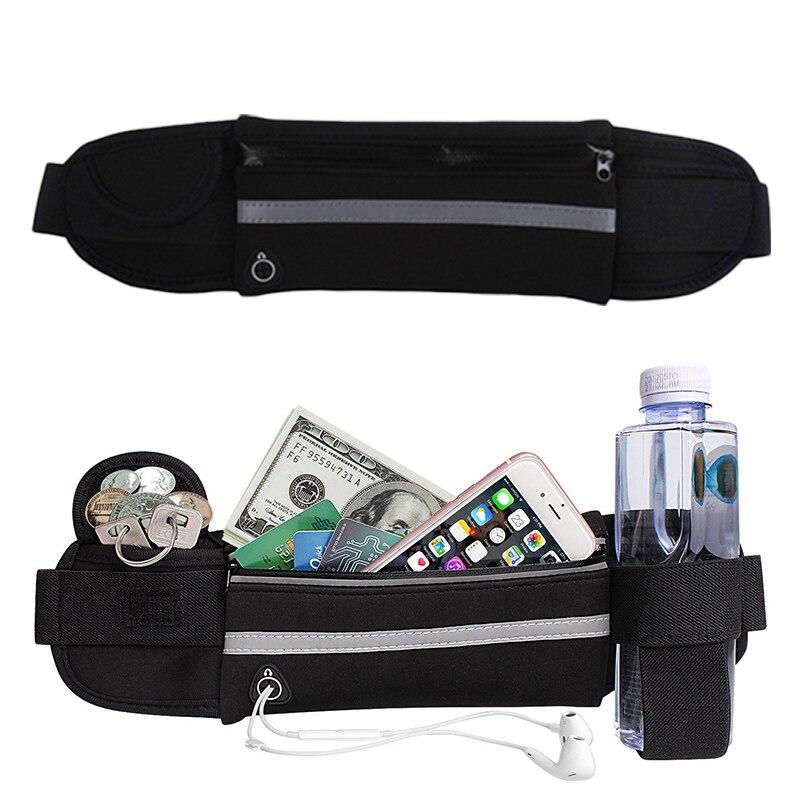 HTB1ZLu6BZuYBuNkSmRyq6AA3pXaj 2019 New Men Women Gym Fitness Pocket Waterproof Sports Waist Bag Pack Belly Belt Bag Outdoor Running Waist Bags Simple Solid