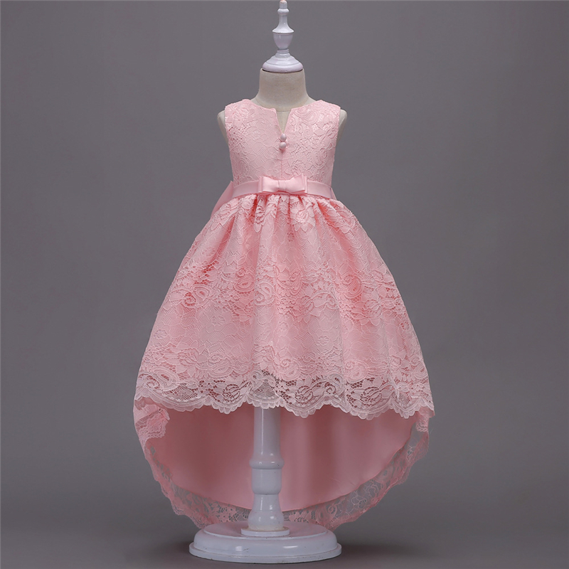 2018 New Teenage Girls Dress High Low Lace Dresses Children Clothing Girl White Princess Dress Kids Mermaid Dress Tails Clothes