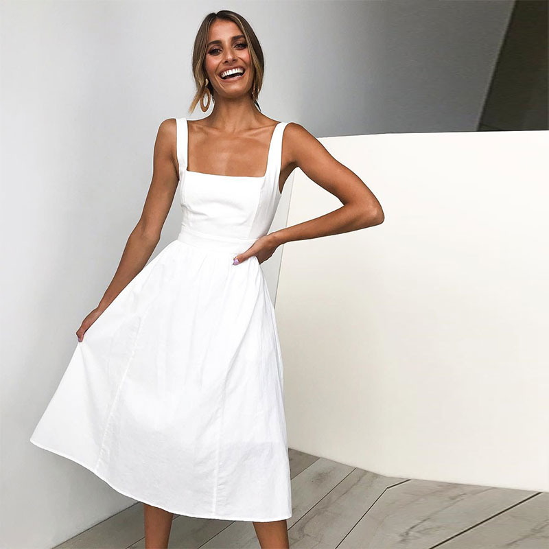 2019 Spring Summer Sizzling Explosions Hot Sell Simple Sling <font><b>Sexy</b></font> Halter <font><b>Dress</b></font> Vestido Party Solid Strap <font><b>Dress</b></font> Black White <font><b>Red</b></font> image