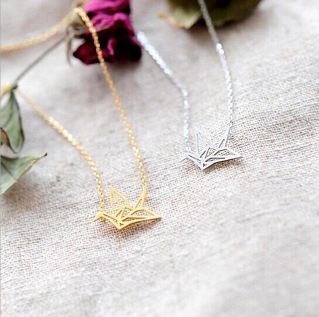 2018 Hot Sale Gold Silver Color Origami Crane Necklace Origami Bird