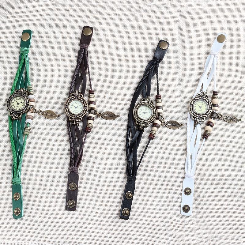 Multicolor High Quality Women Genuine Leather Vintage Quartz Dress Watch Bracelet Wristwatches leaf gift Christmas free shipping 4
