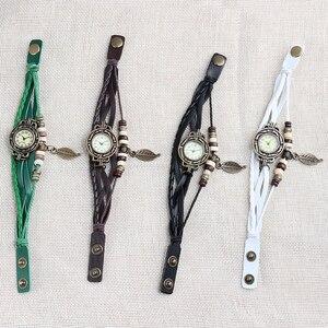 Image 5 - Multicolor High Quality Women Genuine Leather Vintage Quartz Dress Watch Bracelet Wristwatches leaf gift Christmas free shipping