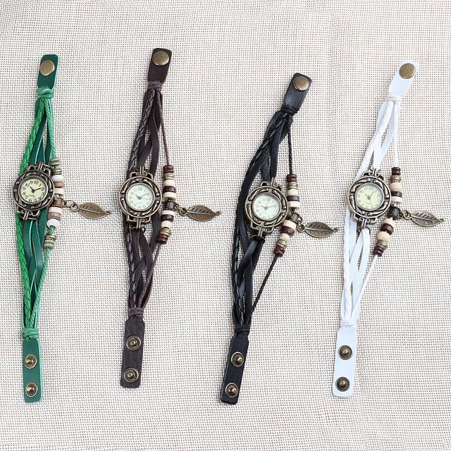 Original Reloj de pulsera de cuarzo Vintage de cuero genuino de alta calidad Multicolor para mujer, reloj de pulsera