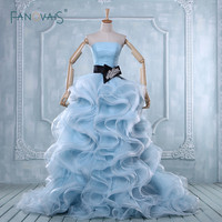Fashionable Elegant Ball Gown Blue Wedding Dress Real Image Strapless Ruffles Skirt Plus Size Wedding Dresses
