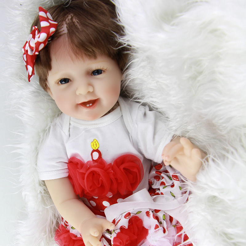 22'' Cute Reborn Baby Doll with Cherry Skirt Realistic Full Silicone Baby Born Smile Girl Dolls with Smooth Hair Hot Sale Gifts original mainboard main board for epson l800 l801 r280 r285 r290 r330 a50 t50 t60 p50 printer formatter board