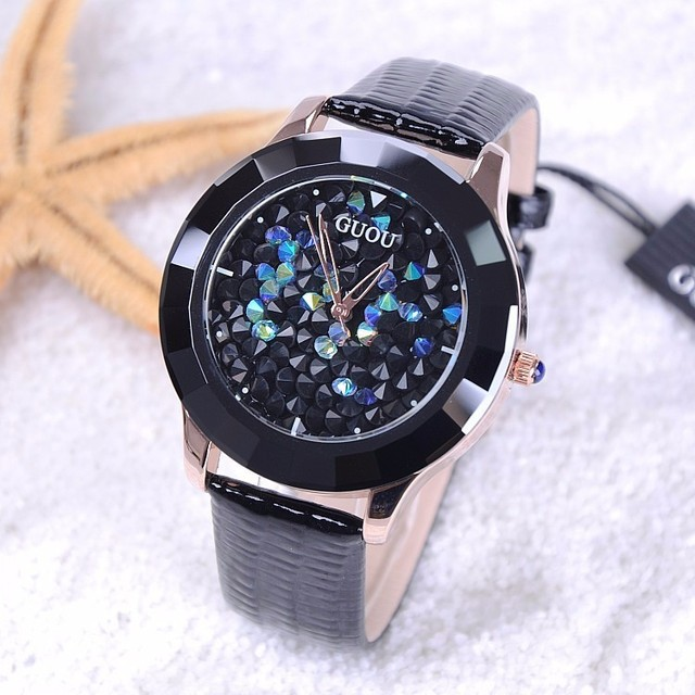 GUOU Watches Women Fashion Luxury Rhinestone Glitter Ladies Watch Leather Diamon