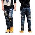 Новинка 2016 весна осень мальчик мода джинсы, Свободного покроя широкий письмо мультипликационный персонаж длинные брюки брюки дети одежда