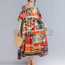 CUERLY Plus Size Women Print Dress Summer Sundress Cotton Female Lady Loose Casual Holiday Maxi Big 5XL 6XL