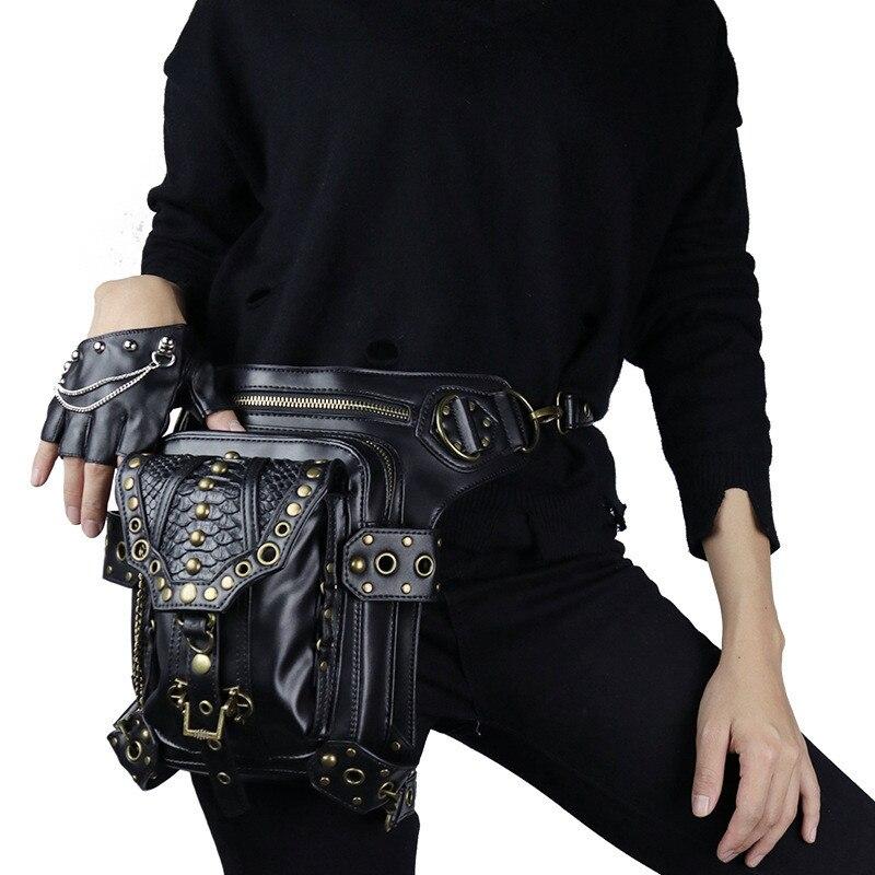 PU polyvalent hommes femmes voyage Mochila bandoulière Messenger sac crochet ceinture taille Pack Drop Leg sac coque de téléphone
