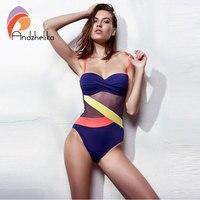 Andzhelika Sexy Bandeau Swimwear One Piece Swimsuit Women 2017 Summer Cup Bra Push Up Beachwear Mesh
