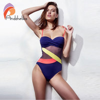 Andzhelika Sexy Bandeau Swimwear One Piece Swimsuit Women 2017 Summer Cup Bra Push Up Beachwear Mesh
