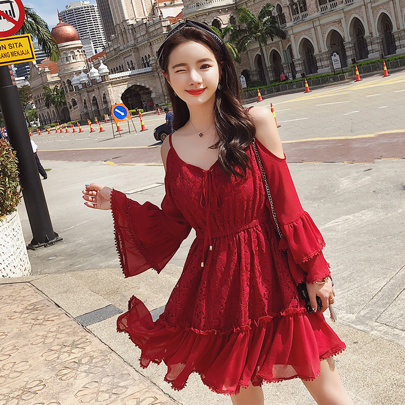 2019 Spring Women Flare Sleeve Red Lace Sexy Shoulder Design High Quality A line Dress Female Party Dresses 4