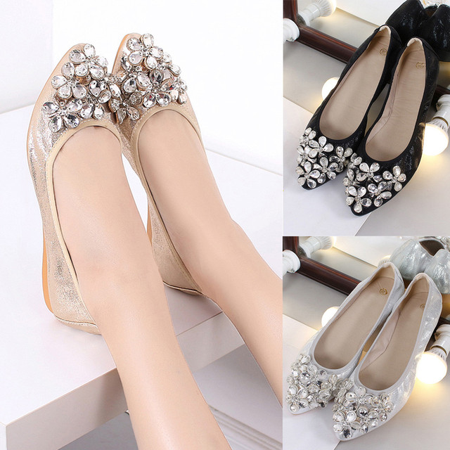 f5e44a26f zapatos mujer tacon chaussures femme ete 2018 Fashion Women Ballet Shoes  Leisure Rhinestone Flats Shoes Princess Shiny Shoes  8
