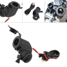 Universal Motorcycle Car Charger Black 12V to 5V Dual USB Faucet Phone adapter for Motorbike