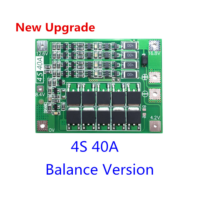 Upgrade 4S 40A Li-ion Lithium Battery 18650 Charger PCB BMS Protection Board with Balance For Drill Motor 14.8V 16.8V Lipo Cell image