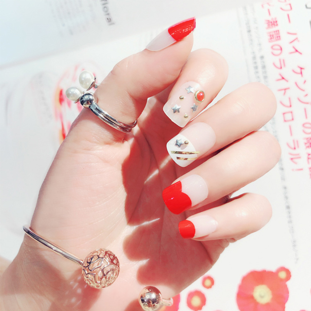 24pcs Set Korea Rhinestone False Nails Full Cover Girls Fingernail Tool Nail Art Tips Red Artificial Fake With Glue In From Beauty