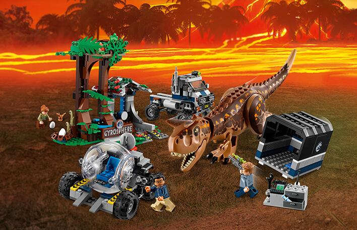 Jurassic World Park 39117 Carnotaurus Gyrosphere Escape Dinosaur Truck Figures Compatible 75929 Building Blocks Toys Kid Gift