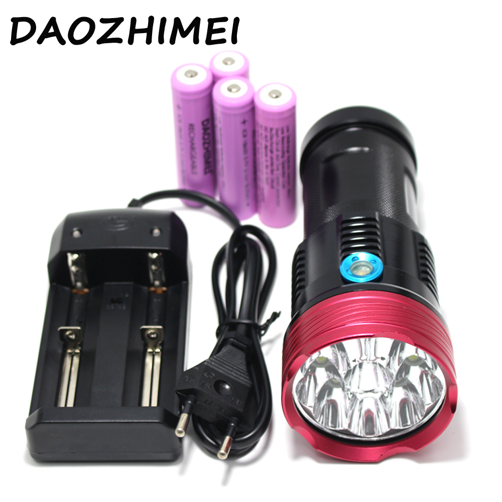 High Power 20000 lumens 10 x XM-L T6 LED Flashlight Torch Lamp Light For Hunting Camping+4 pcs 18650 battery+charger skyray 20000 lumens 90w led flashlight 5 modes 9x cree xm l t6 led bike hunting torch with 4 x 18650 battery and charger