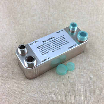 "20 Plate Wort Chiller Stainless Steel 304 Home Brewing Chiller Heat Exchanger 1/2\"" male X 3/4\"" male NPT Garden hose Thread"