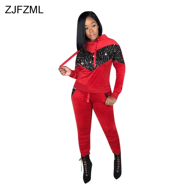 4f6147c3341 Warm Velvet 2 Piece Outfits For Women Sequined Long Sleeve Hooded Top +  Pockets Bodycon Pants Autumn Winter Plus Size Tracksuit